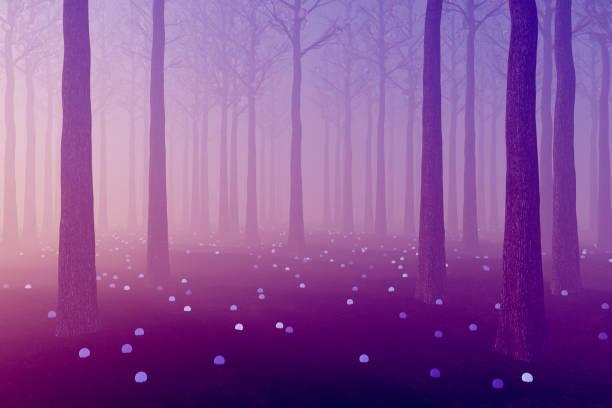 Floresta escura brilhante de fantasia violeta - foto de acervo