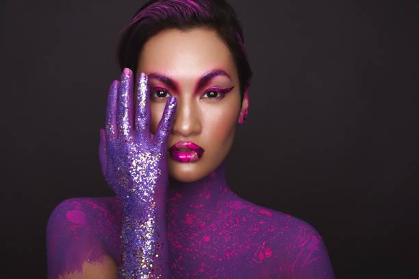 Fantasy violet make up, beautiful asian model, woman portrait - foto de acervo