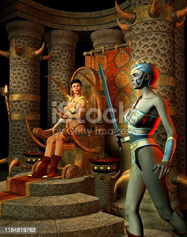 Fantasy Warrior woman armed with sword entering in the Thrones room with a Queen, 3d illustration