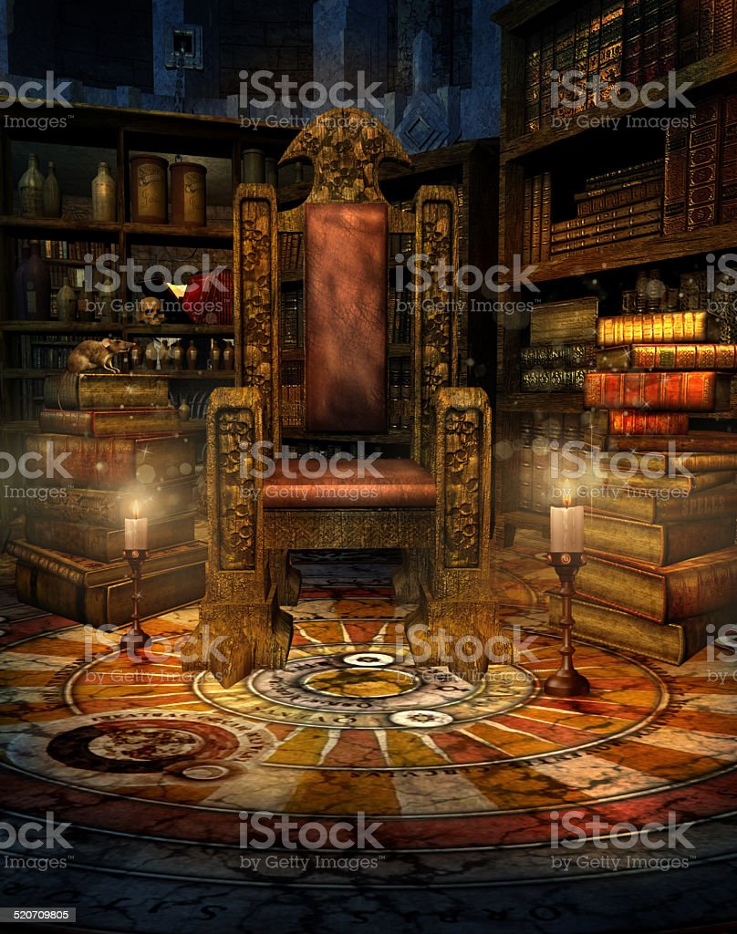 Fantasy wizard's room stock photo
