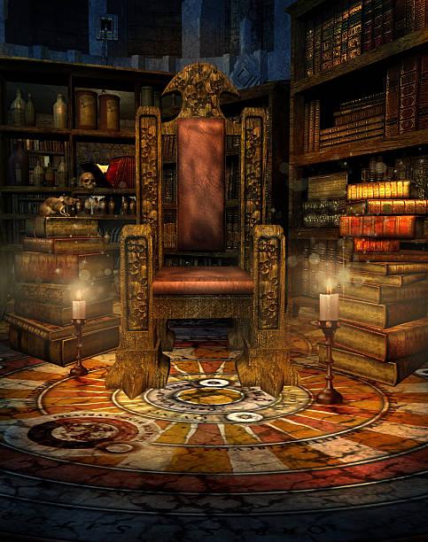 ファンタジーウィザードのお部屋 - 王座 ストックフォトと画像