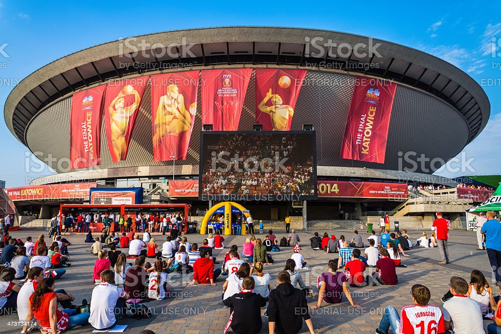 Fanzone at the Spodek Arena stock photo