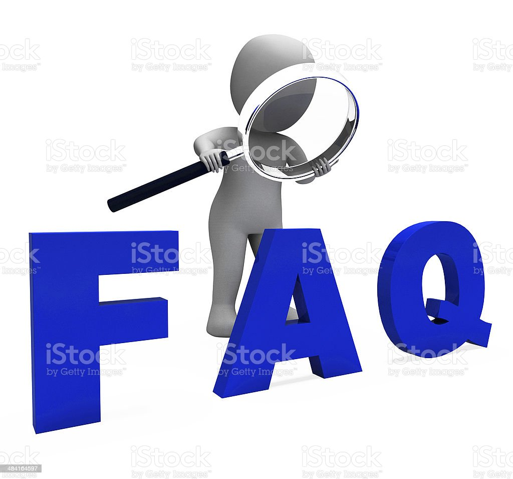 Faq 3d Character Shows Assistance Inquiries Or Frequently Asked stock photo
