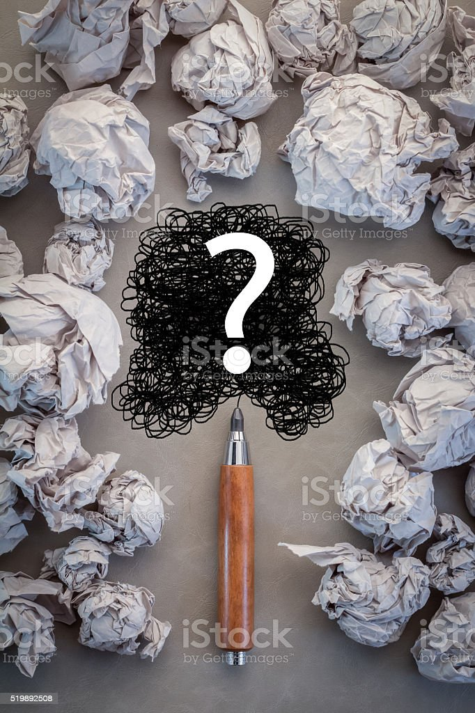 faq concept with crumpled paper and question mark drawing stock photo