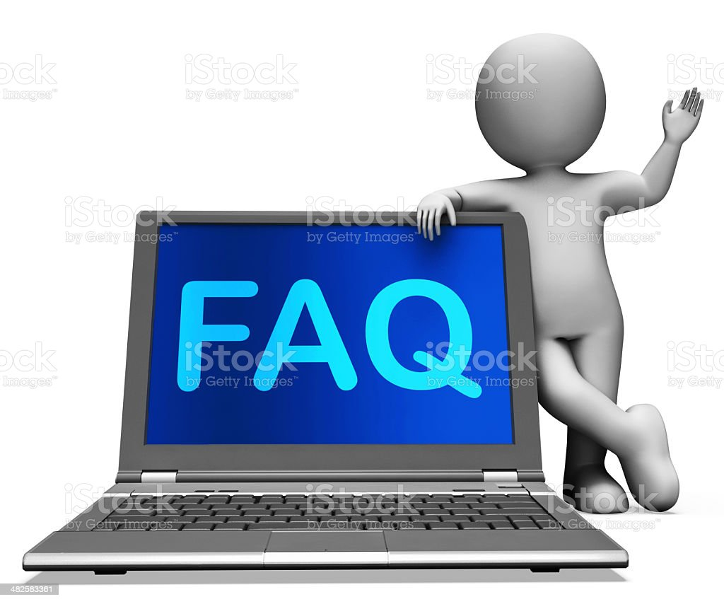Faq Laptop And Character Shows Solution Or Frequently Asked stock photo