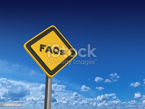 1048039800 istock photo FAQs Road Sign - 3D Rendering 1089682040