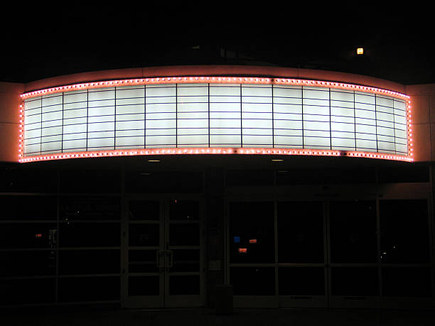 A far away picture of a building banner marquee theater marquee commercial sign stock pictures, royalty-free photos & images