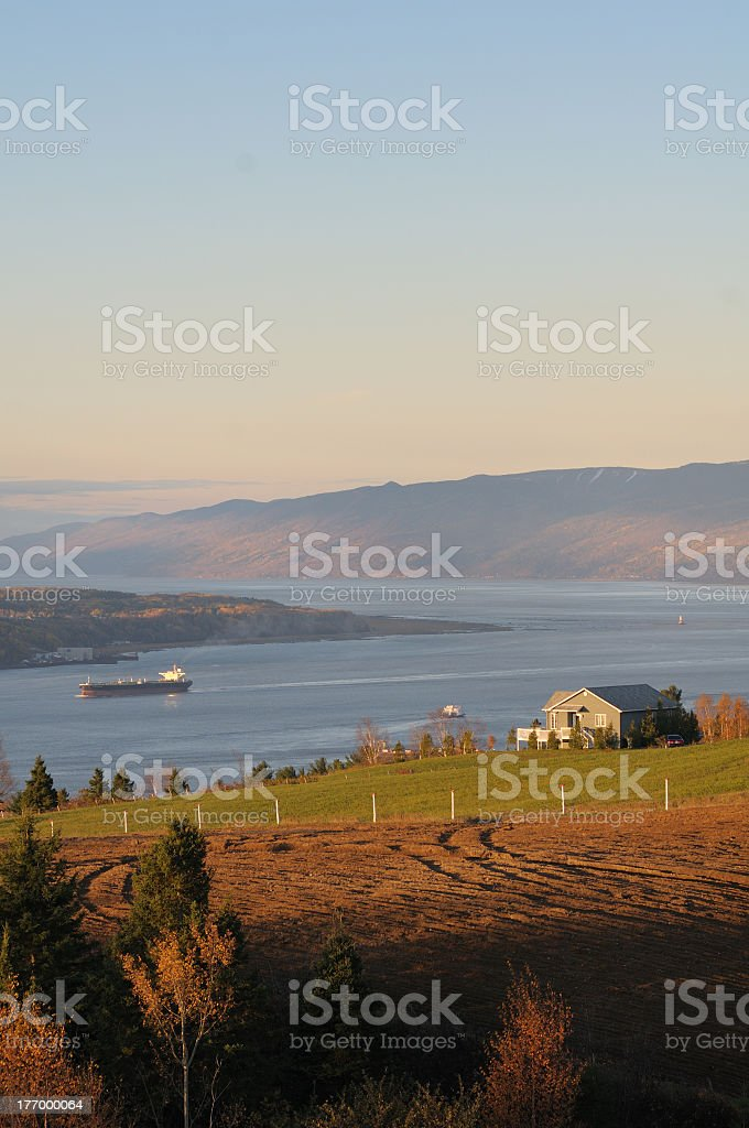 A far away picture of a Quebec landscape stock photo