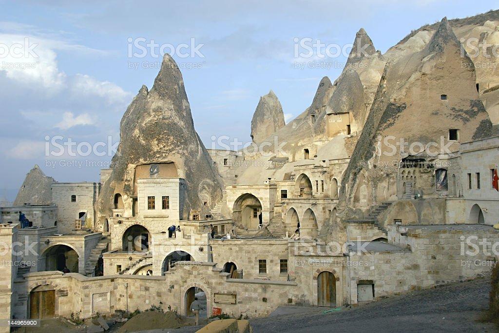 Far away view of cave city in Cappadocia stock photo