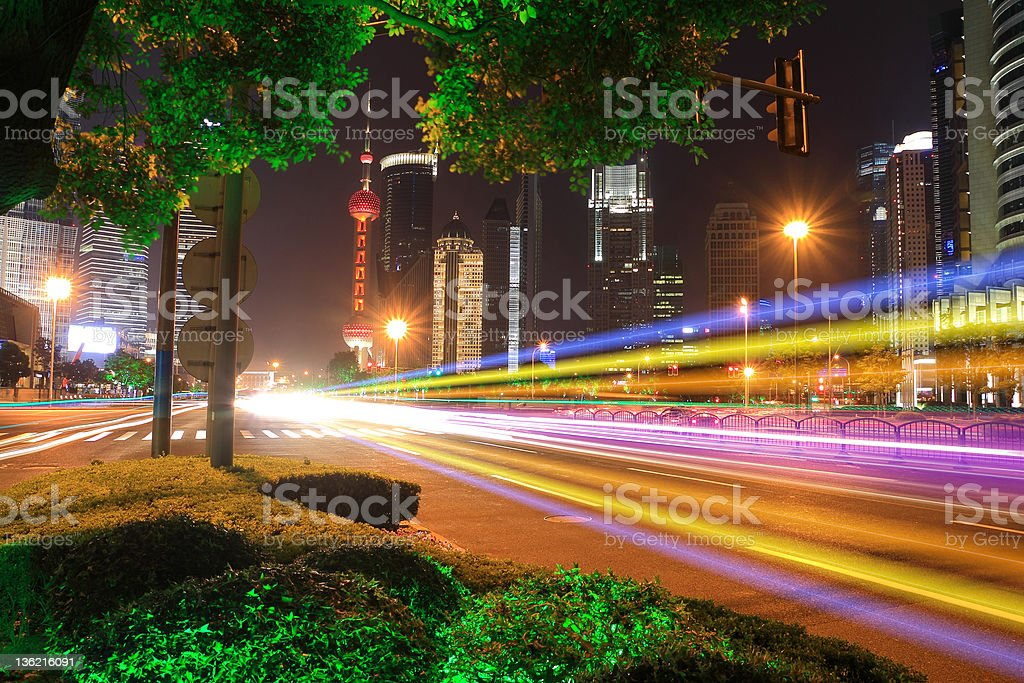 Far East city of Shanghai Lujiazui Holiday Night scenery royalty-free stock photo