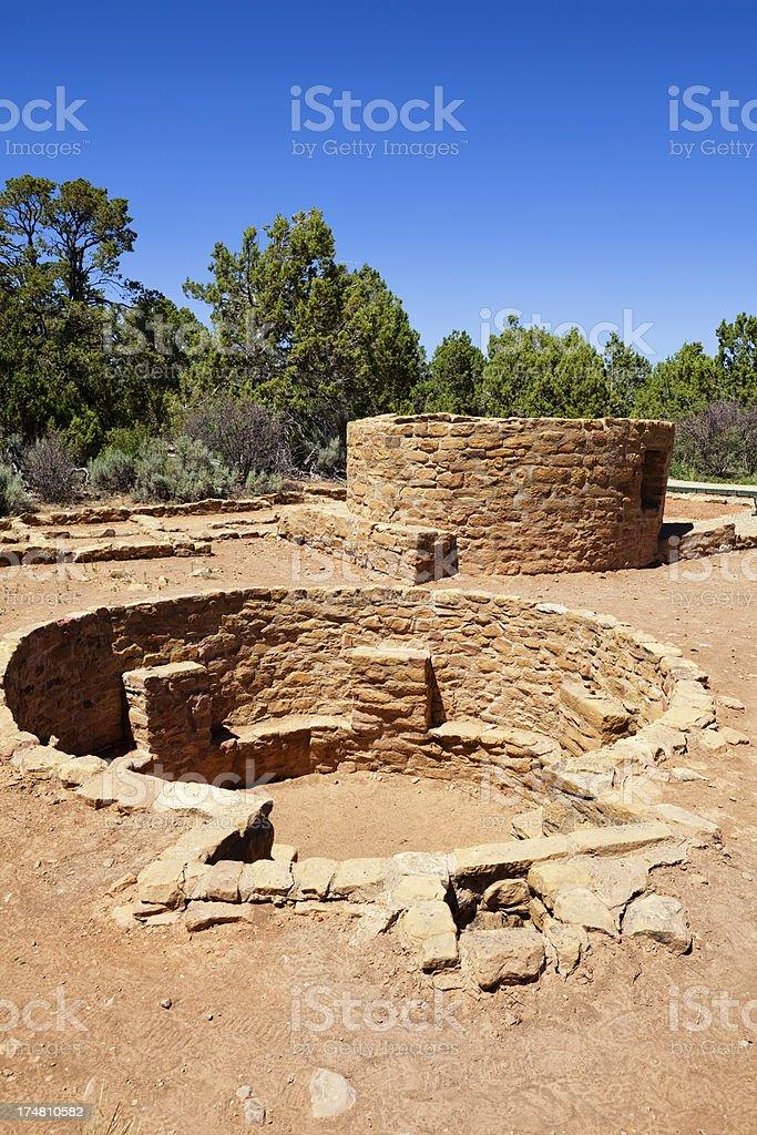 Far View Tower Ruins - Mesa Verde National Park, Colorado stock photo