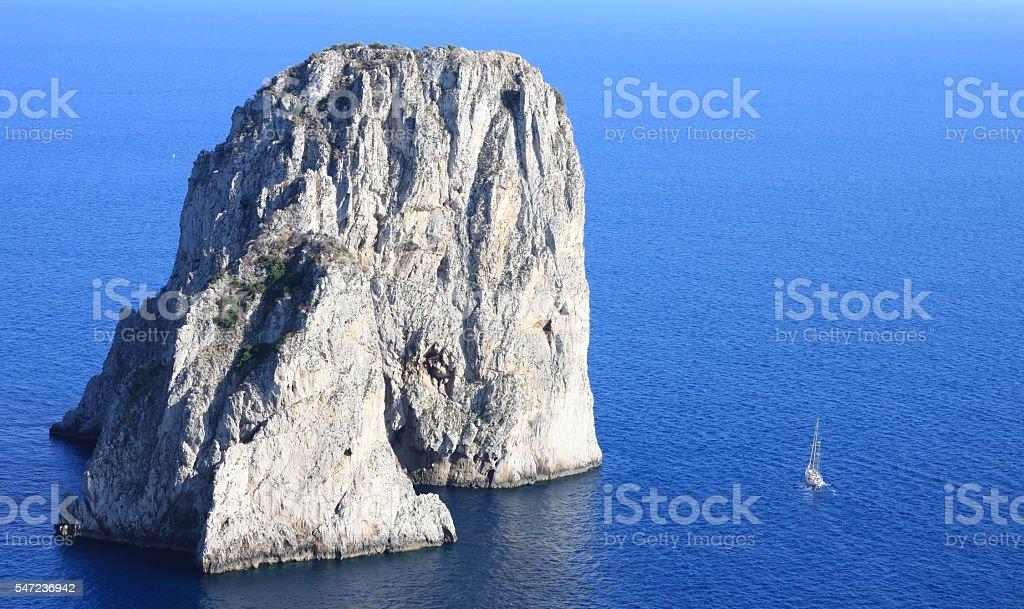Faraglioni Cliffs, Mediterranean Sea Coast, Capri, Italy, Europe stock photo