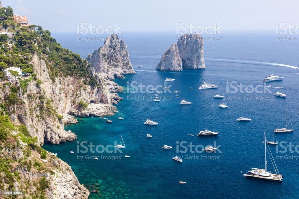 Faraglioni rocks, Capri island, in daylight stock photo