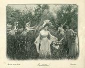 Antique photograph, Farandole amoungst flowers, women in a meadow, 19th Century