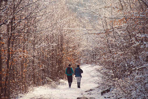 Rear view of the two mountaineers walking through the snowy, mountain road
