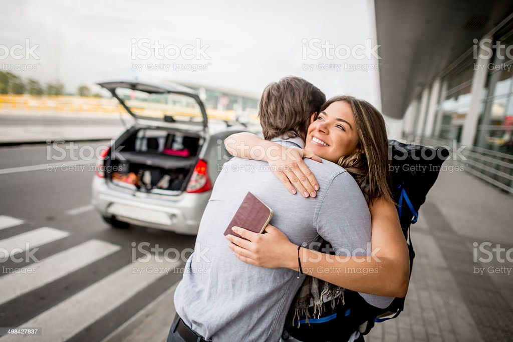 Farewell at the airport stock photo