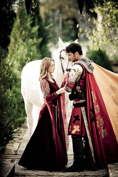 farewell between medieval knight and princess - knight on horse stock photos and pictures