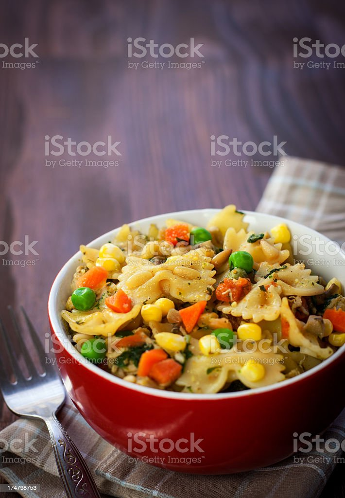 Farfalle with chicken royalty-free stock photo