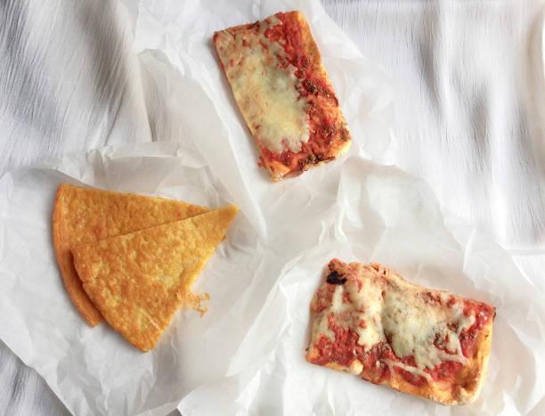 Farinata and Pizza (Italian food) Italian food. Slices of farinata and pizza farinata stock pictures, royalty-free photos & images
