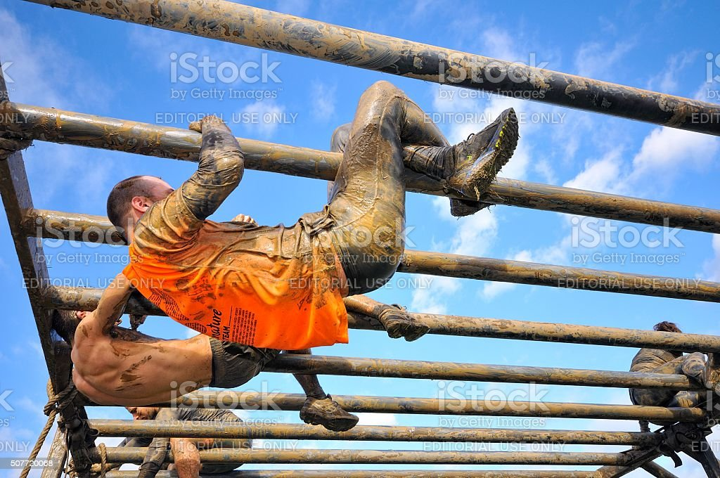 Farinato Race - extreme obstacle race in Gijon, Spain. stock photo