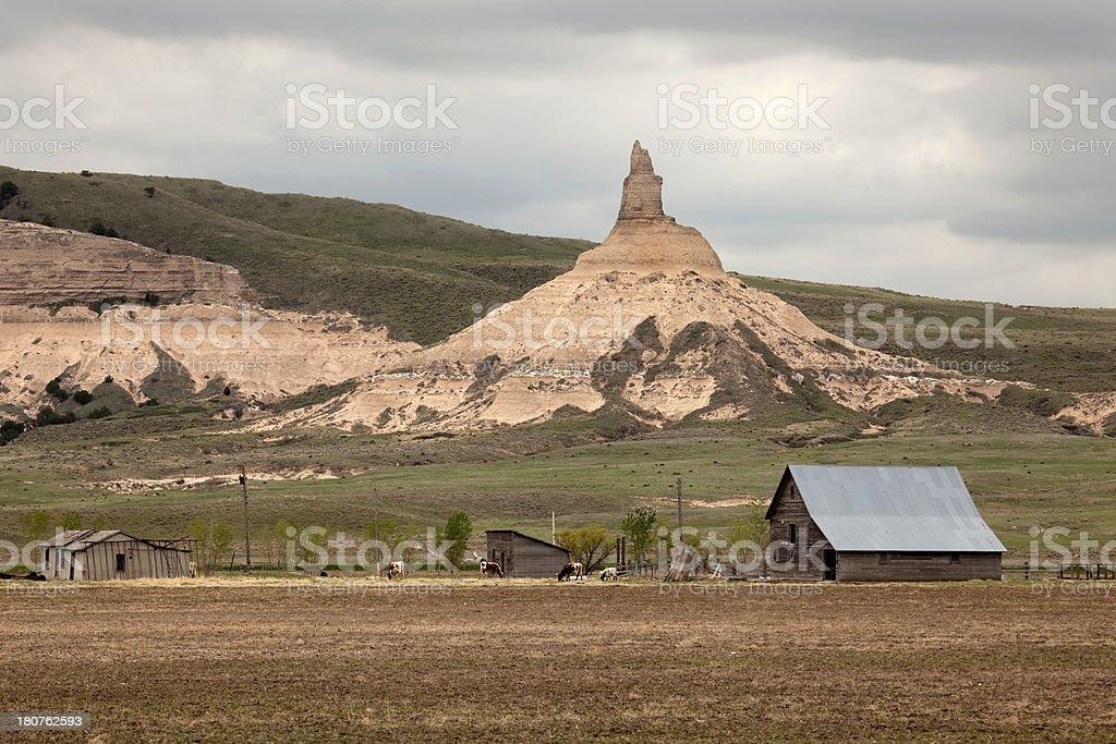 Farm and Chimney Rock National Monument Nebraska stock photo