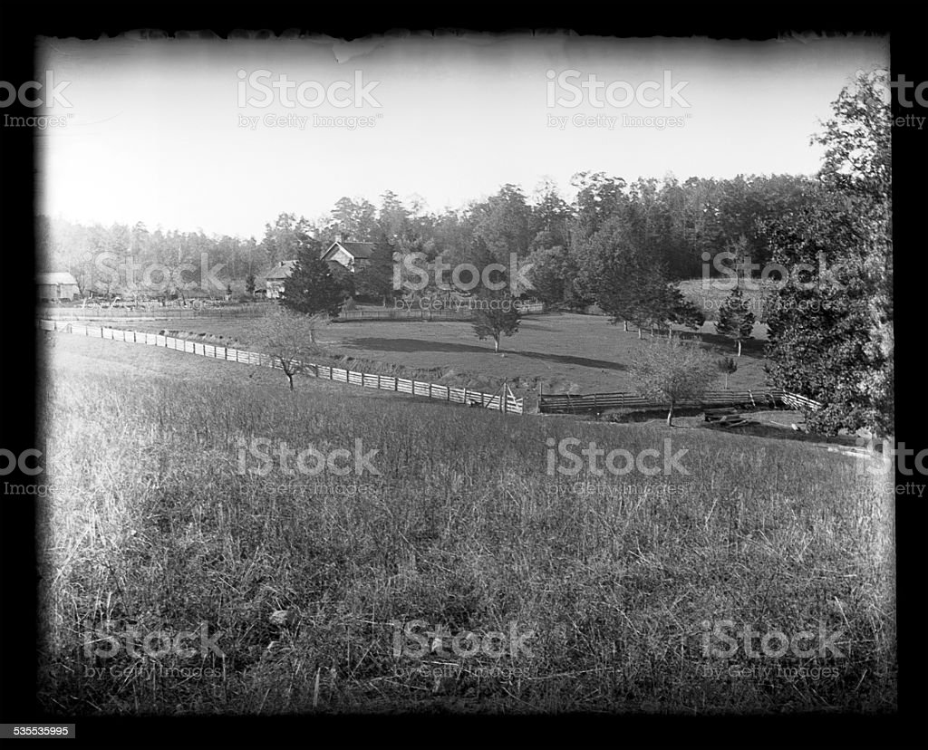 Farm And Farmhouse Circa 1890 Stock Photo - Download Image