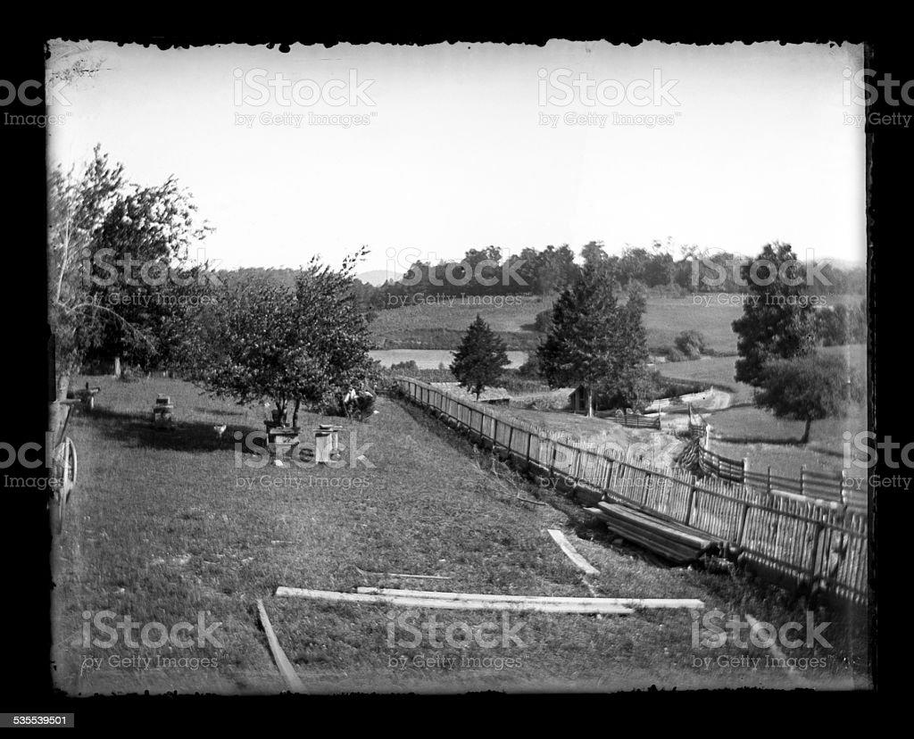 Farm and Orchard, Circa 1890 stock photo