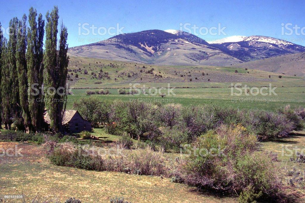 Farm and ranch country near Almo Idaho looking toward the City of Rocks National Reserve and Castle Rocks State Park Idaho stock photo