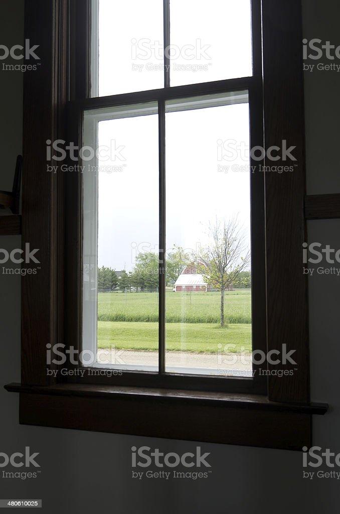 Farm Barn Through Window stock photo