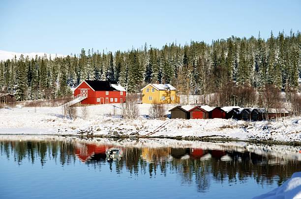 Farm by a lake stock photo