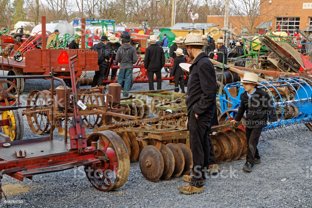 Farm Equipment For Sale at Auction stock photo