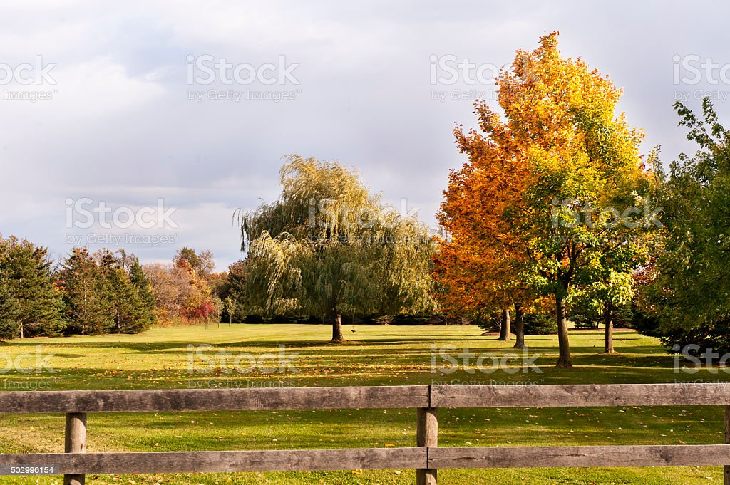 Farm Fence in Fall stock photo