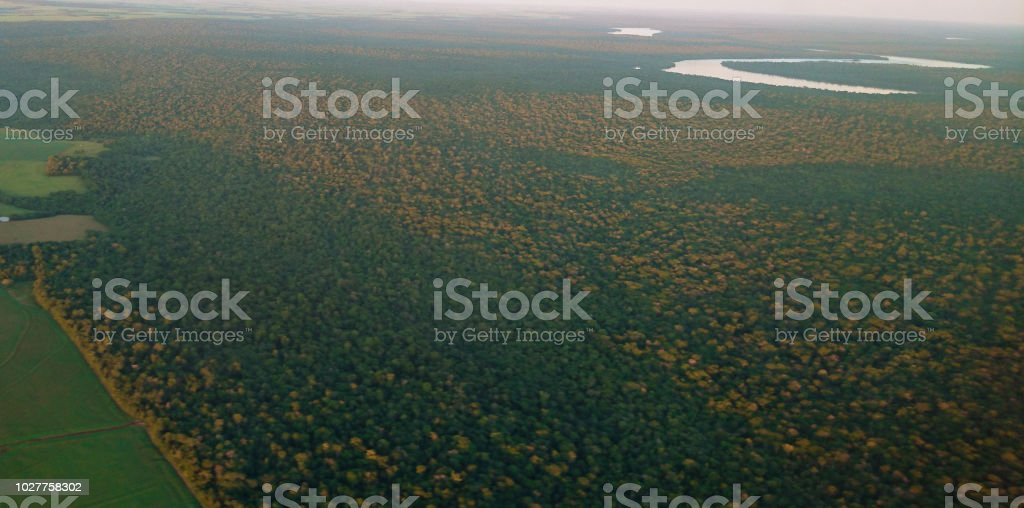 Farm fields and park forest seen from above - Campos e floresta vistas de cima stock photo