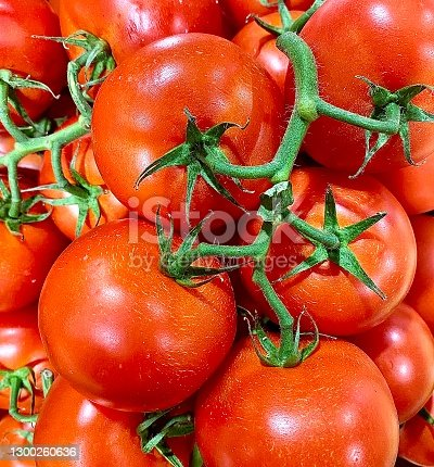 Square macro close up bunch organic ripe bulk group tomato with green stems