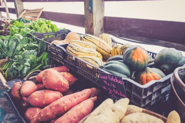 bauernhof frisches gemüse auf dem display an bauernmarkt bauernherbst - kürbis kaufen stock-fotos und bilder