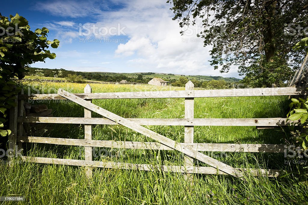 Farm Gate in the Yorkshire Dales stock photo
