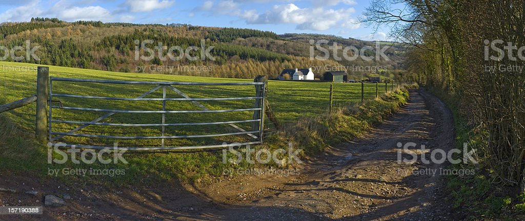 Farm gate, track and field royalty-free stock photo