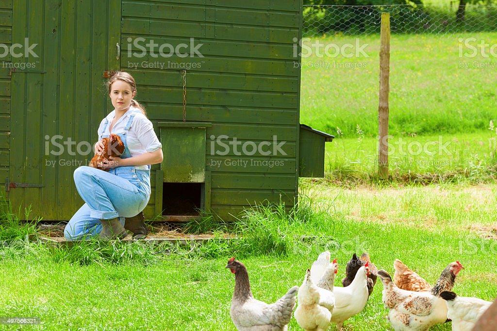Farm Girl Holding A Hen royalty-free stock photo