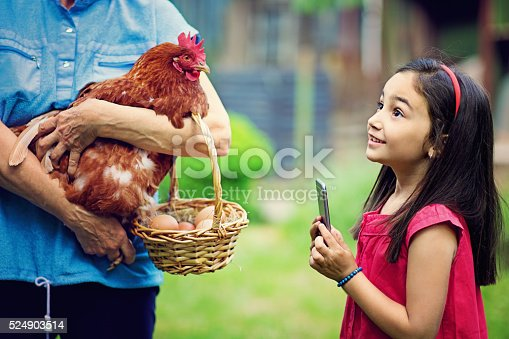 Little girl is making photos with her mobile phone at her grandmother with hen in her hands.