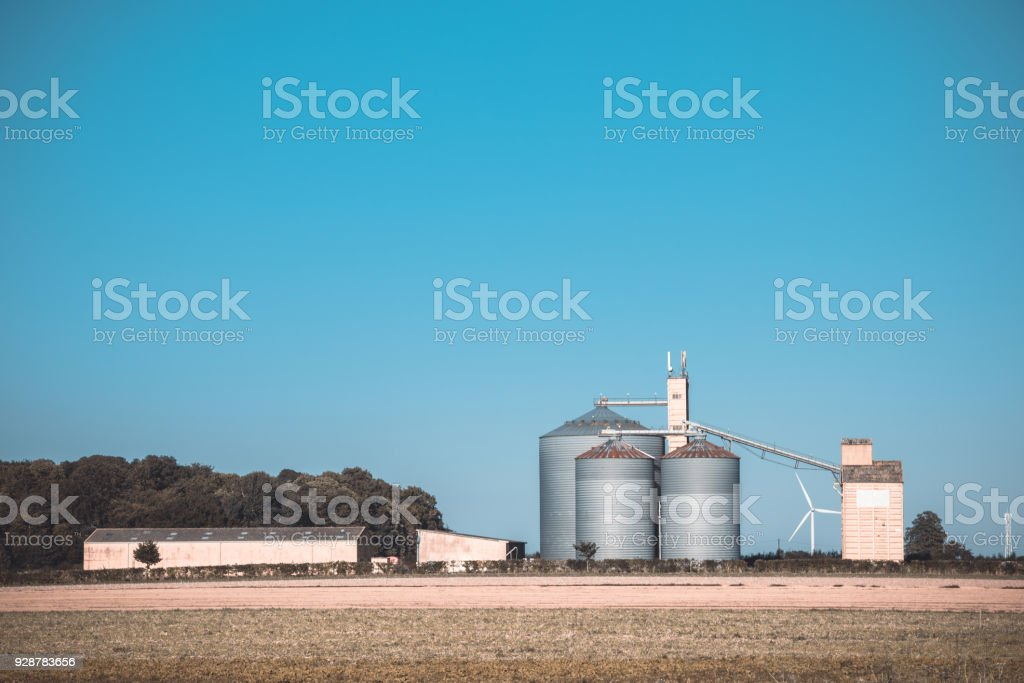 Farm Grain Silos For Agriculture Stock Photo - Download