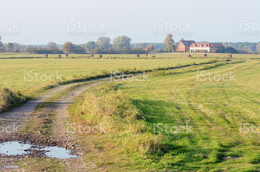 Farm house at Havel River landscape (Germany) stock photo