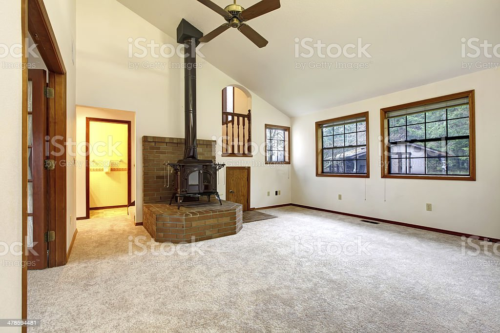 rustic empty living room carpet | Farm House Empty Living Room Stock Photo & More Pictures ...