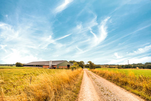 Farm house near a road in a rural countryside stock photo
