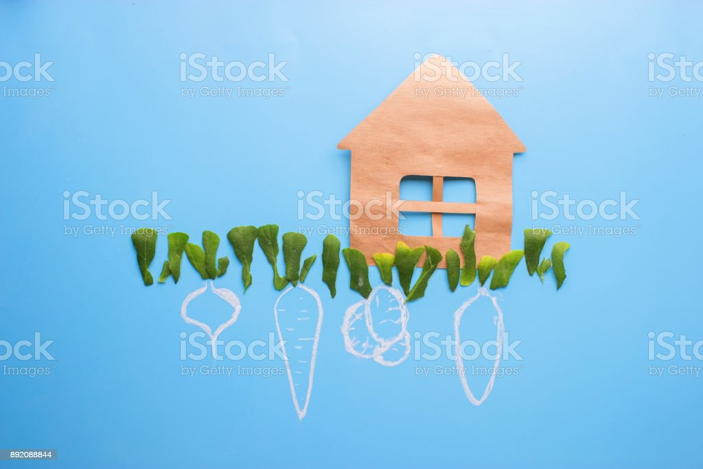 farm house with trees and crop stock photo