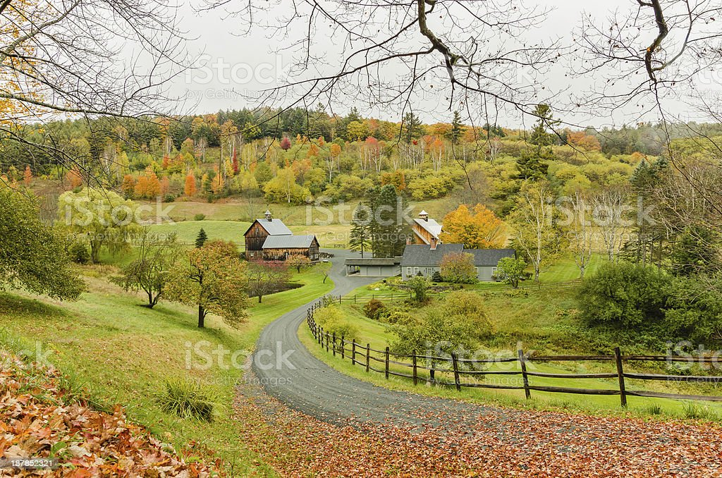 Farm in Autumn Landscape stock photo