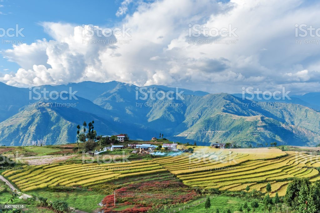 Farm in Bhutan eastern mountains stock photo