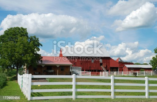 old farm in new jersey with horse in barnyard.