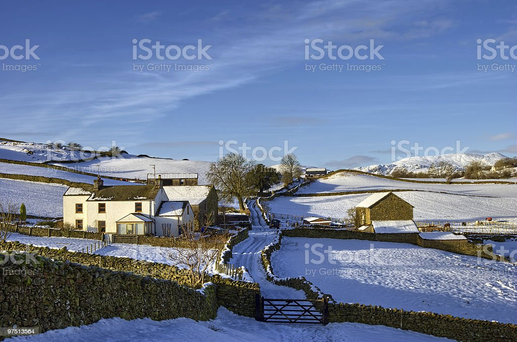 Farm in snowy countryside royalty-free stock photo