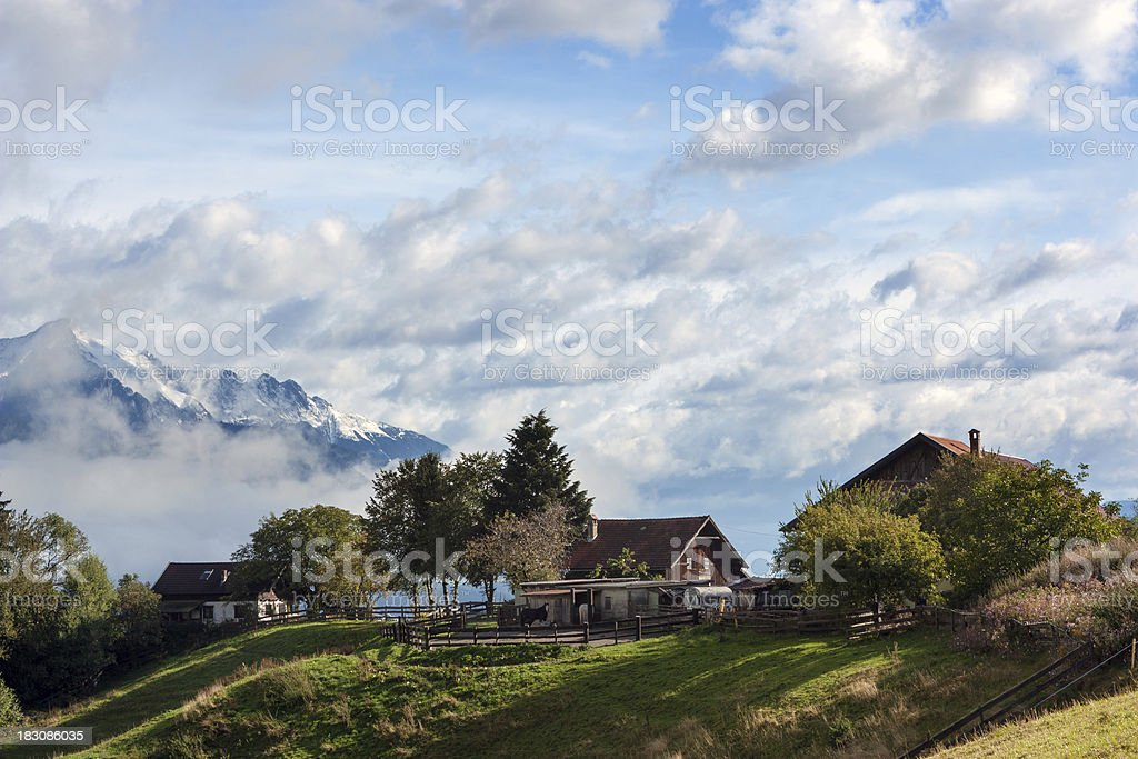 Farm in the Alps royalty-free stock photo