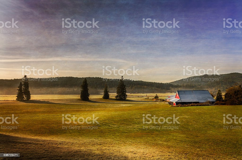 Farm in the Cowichan Valley stock photo